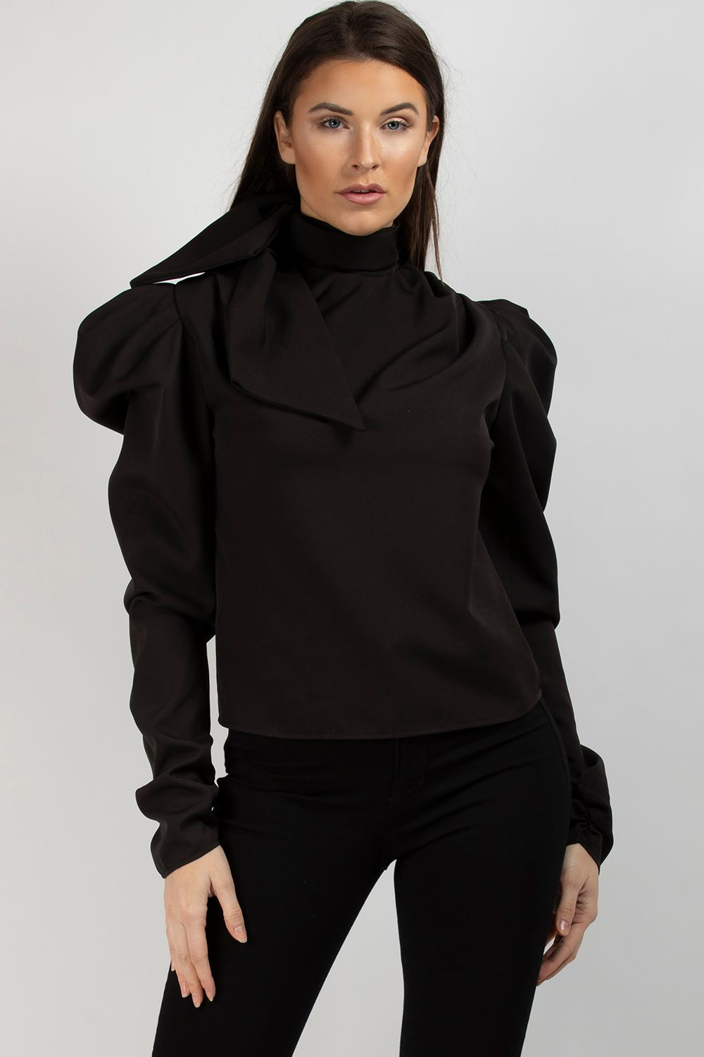 bow detail puff sleeve blouse black