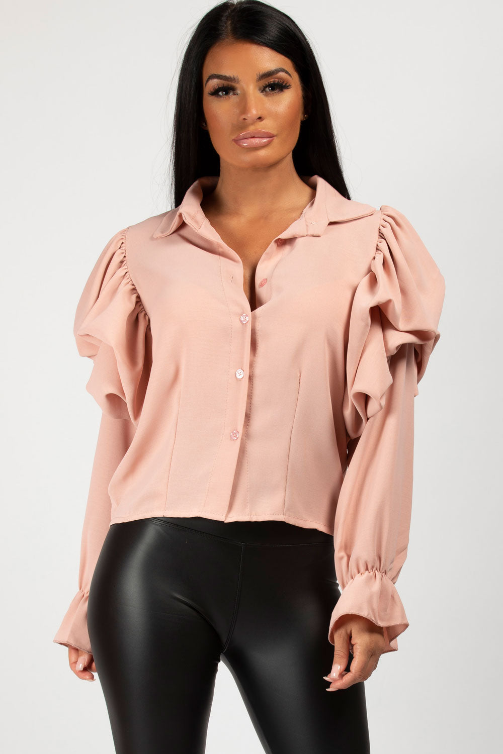 pink puff sleeve blouse top