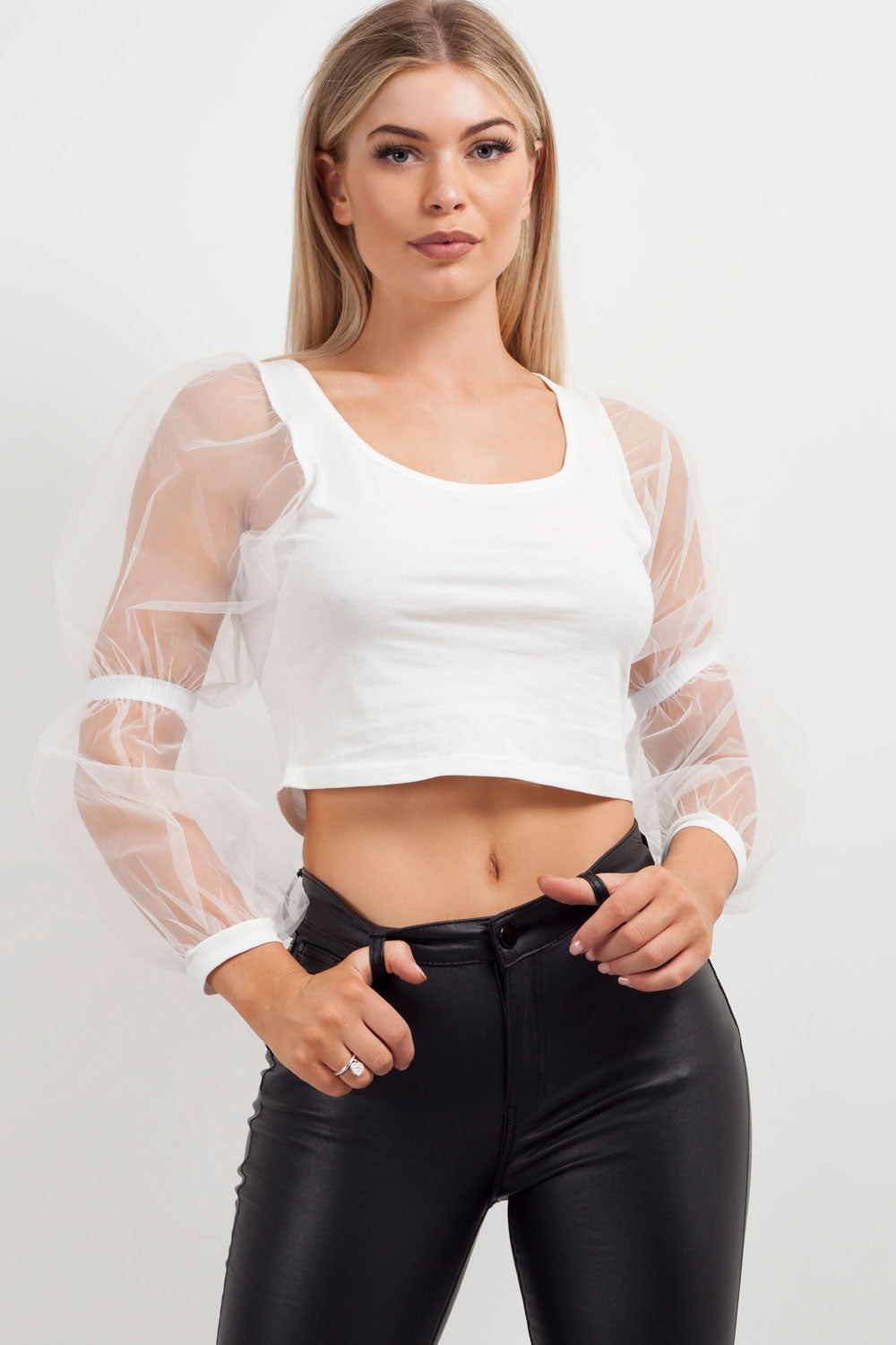 white organza sleeve crop top styledup fashion