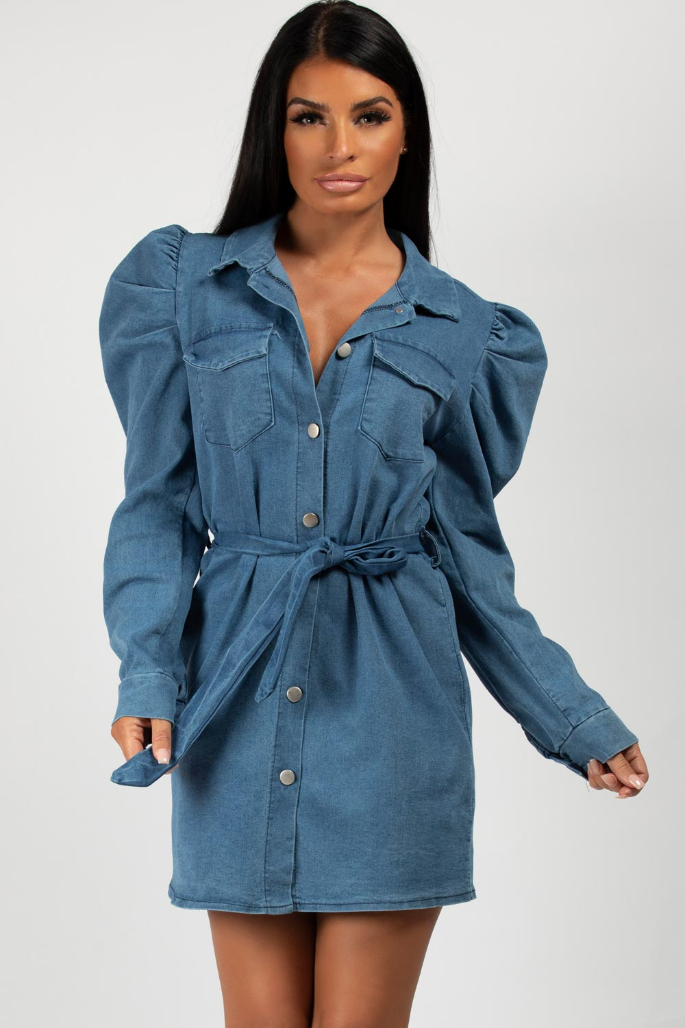 puff sleeve denim belted mini dress