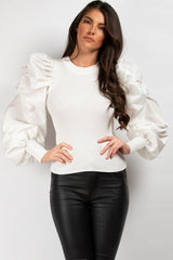 ruched satin sleeve jumper cream