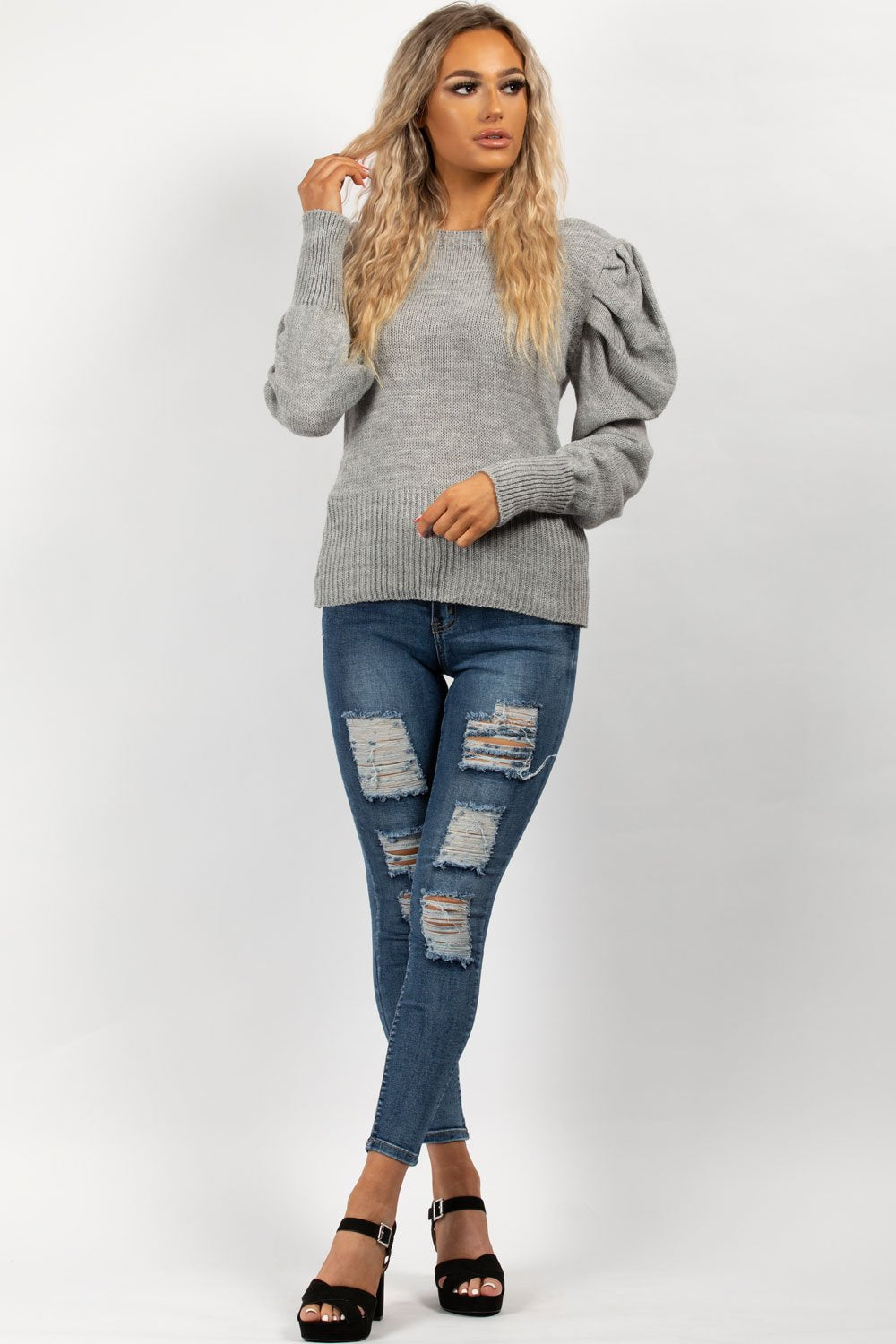 ruched sleeve jumper grey