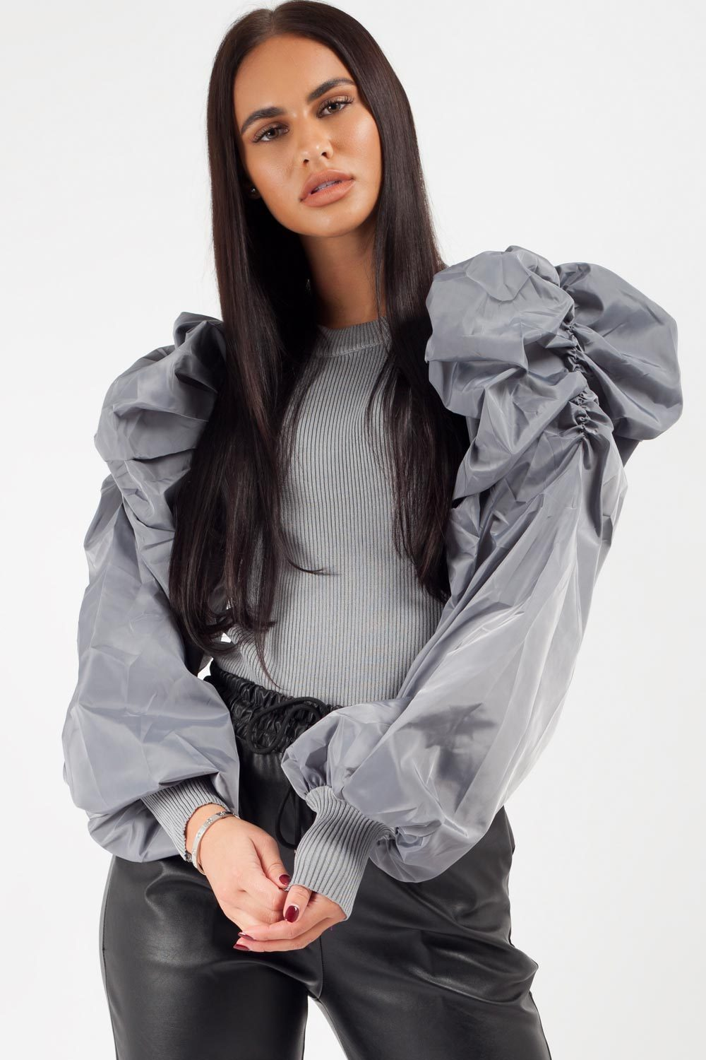 satin ruched sleeve dressy jumper grey