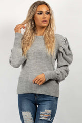 grey puff sleeve dressy jumper