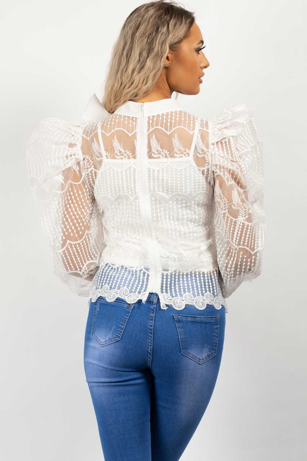 sheer lace puff sleeve blouse white