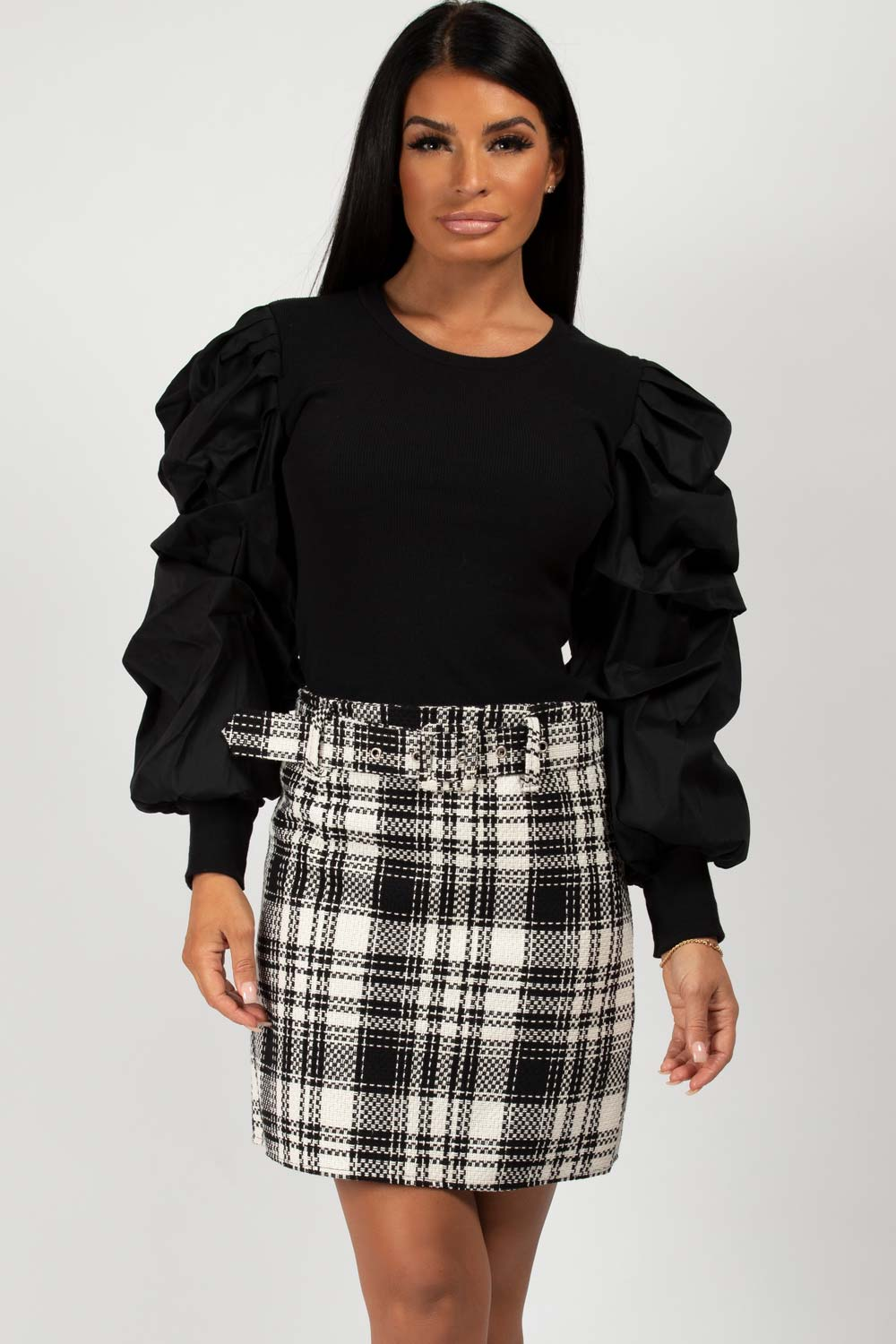black ruched sleeve top