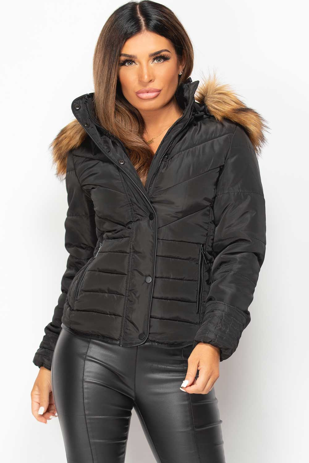 black padded quilted puffer jacket womens