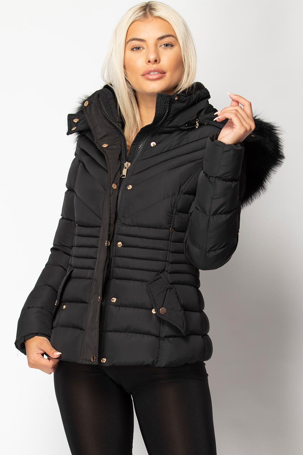 fur hood padded coat womens