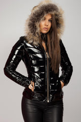 black faux fur hooded puffer coat
