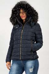 Khaki Faux Fur Hooded Puffer Coat
