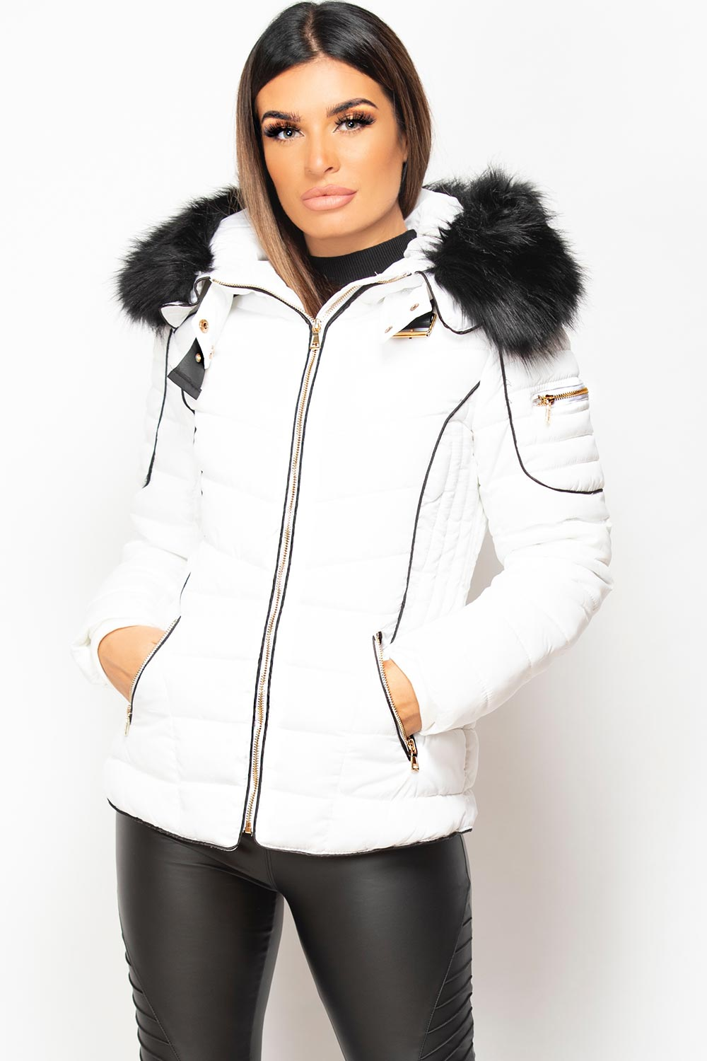 chunky fur hooded puffer coat white