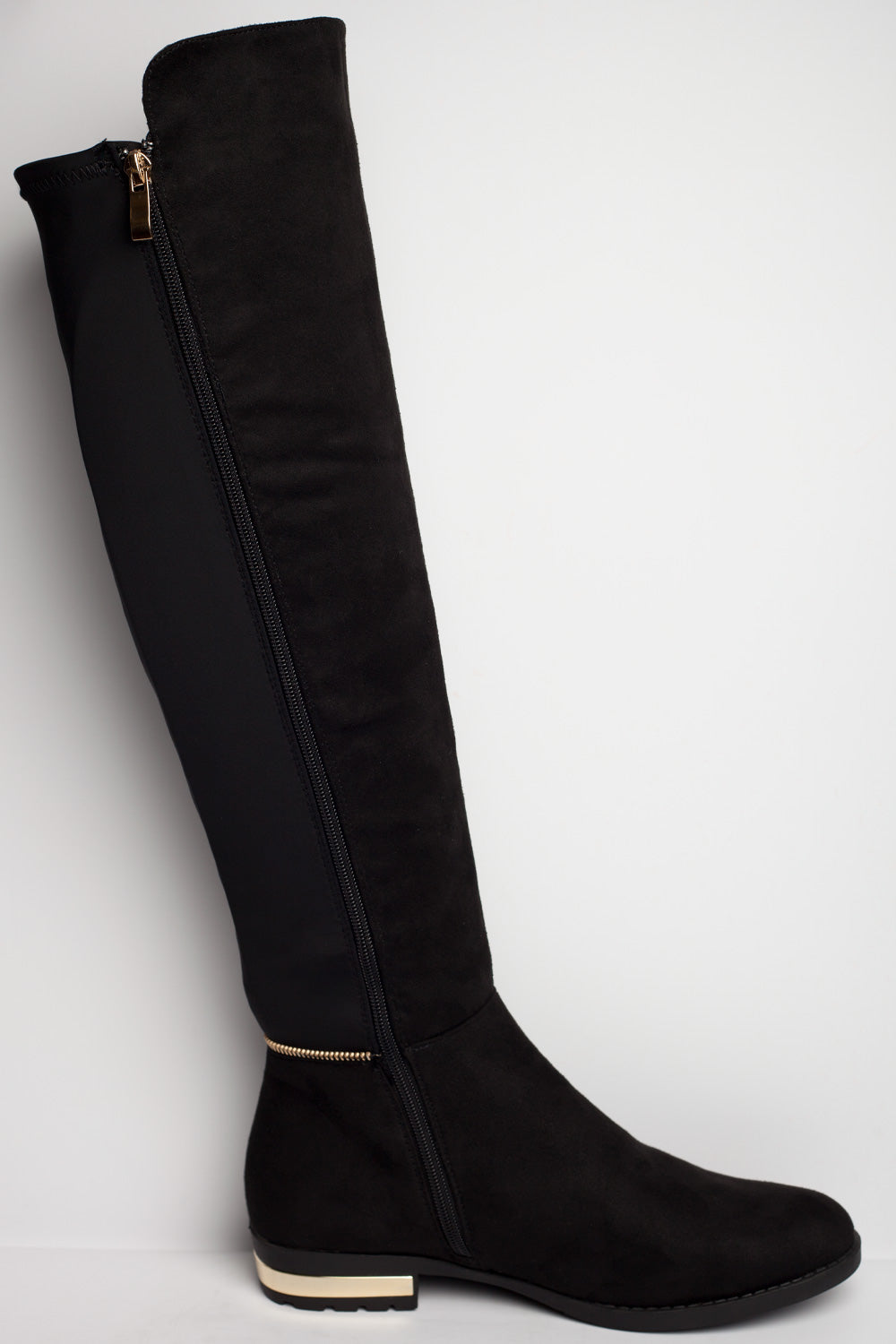 pull on stretch knee high boots black