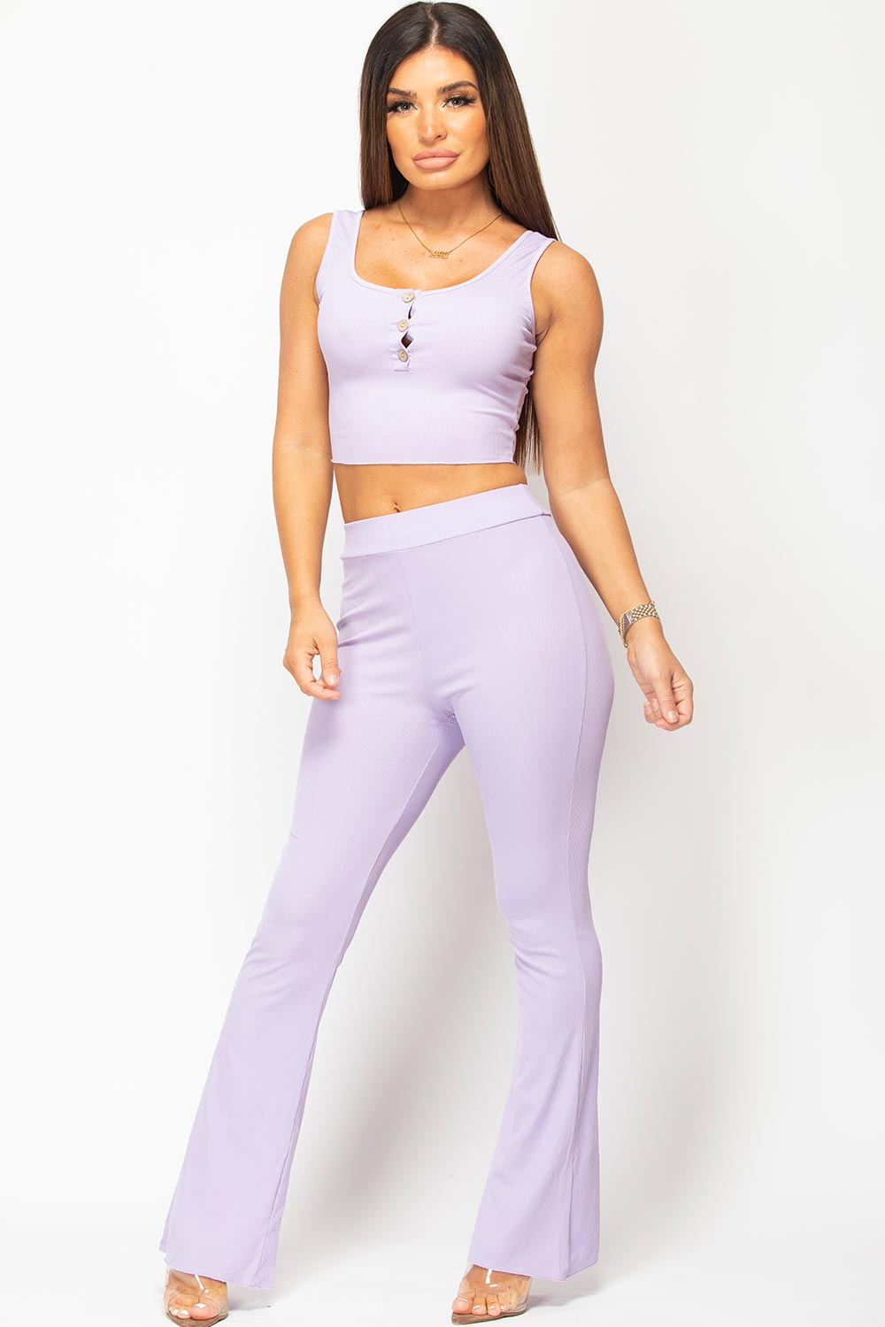 purple crop top and trousers set