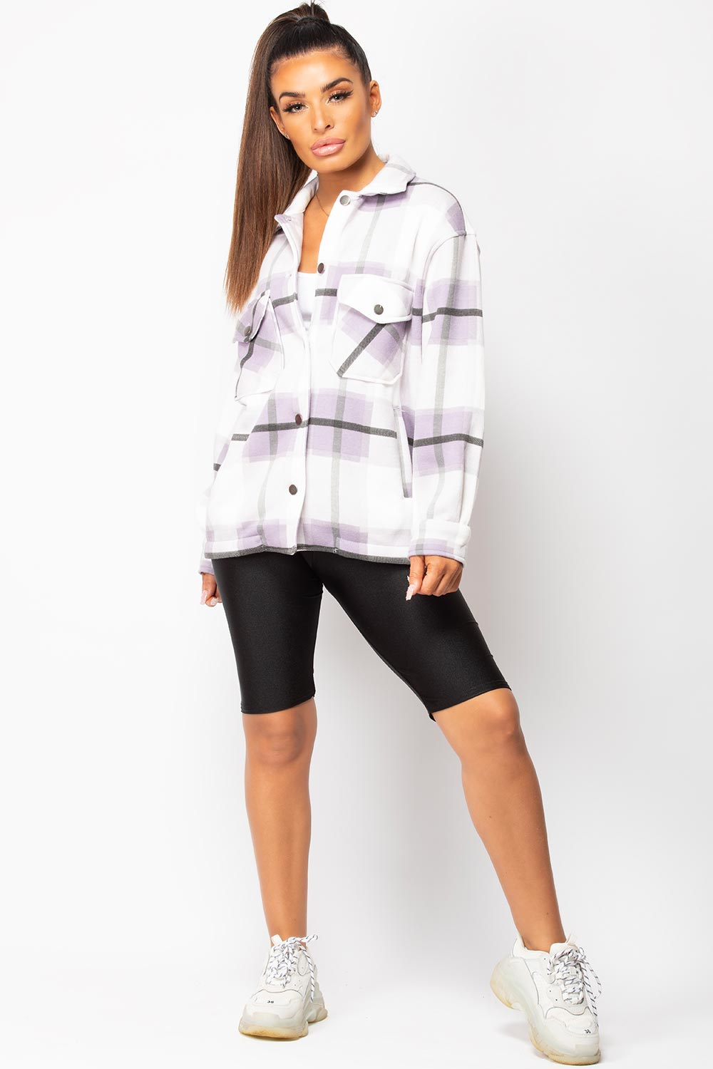 Purple Check Shacket Oversized Shirt