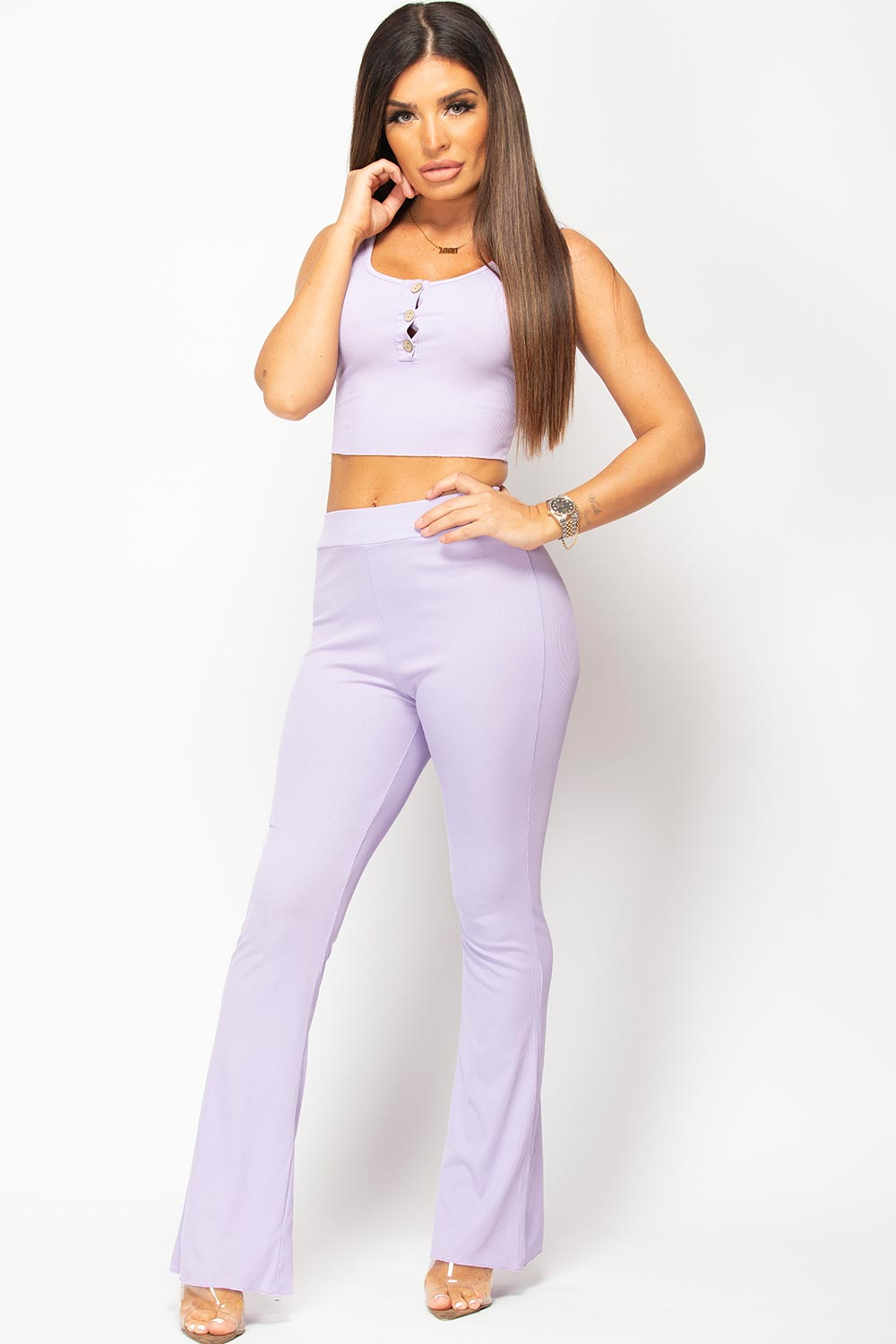 crop top and wide leg trousers set