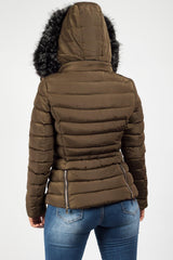 womens zara khaki quilted coat with faux fur hood uk