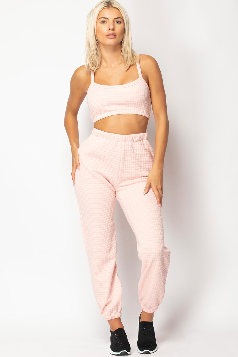 joggers and crop top set pink