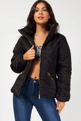 womens black winter quilted coat