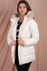 long puffer coat with faux fur hood pink