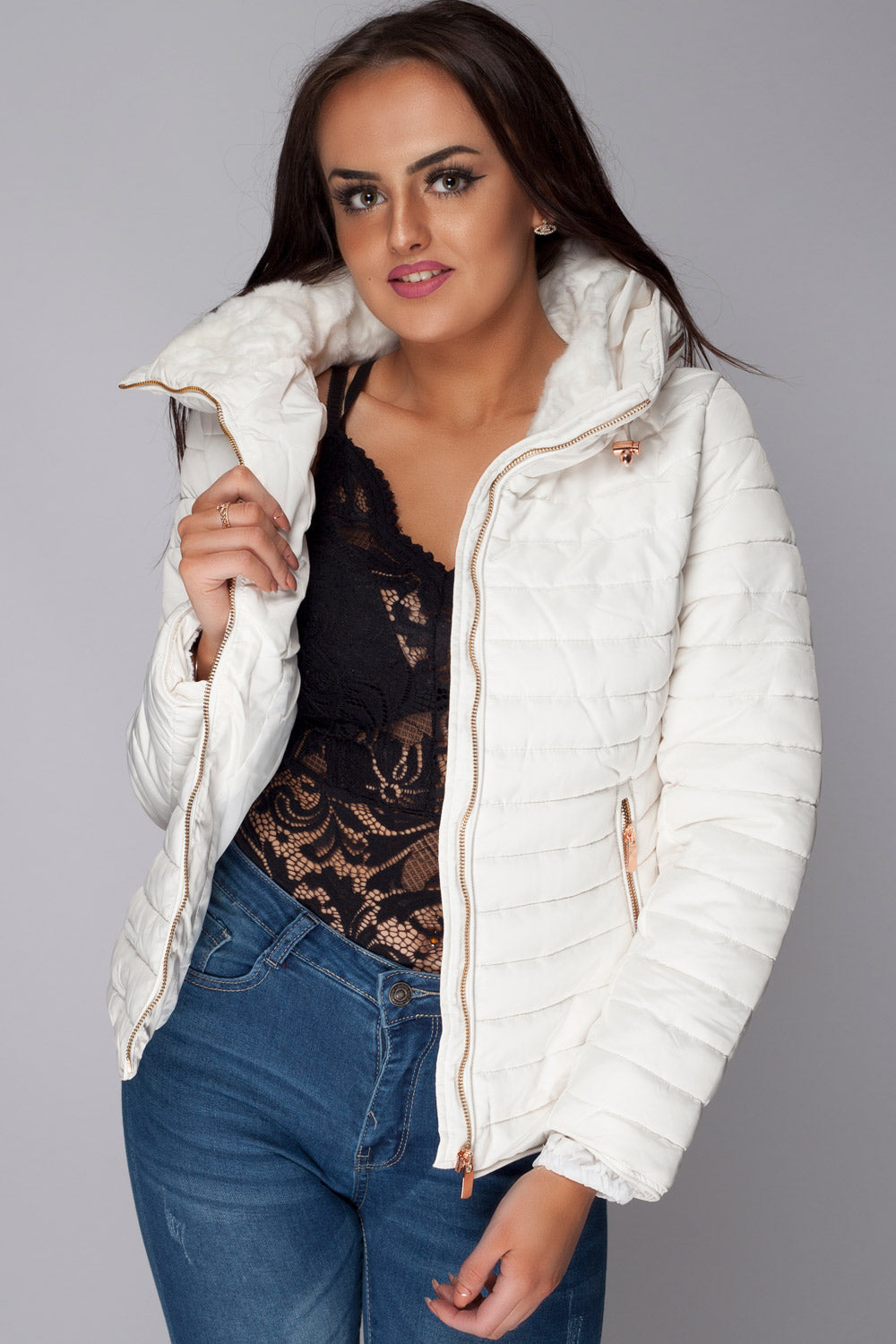 ed63ebfb68 Off White Quilted Jacket With Hidden Hood – Styledup.co.uk