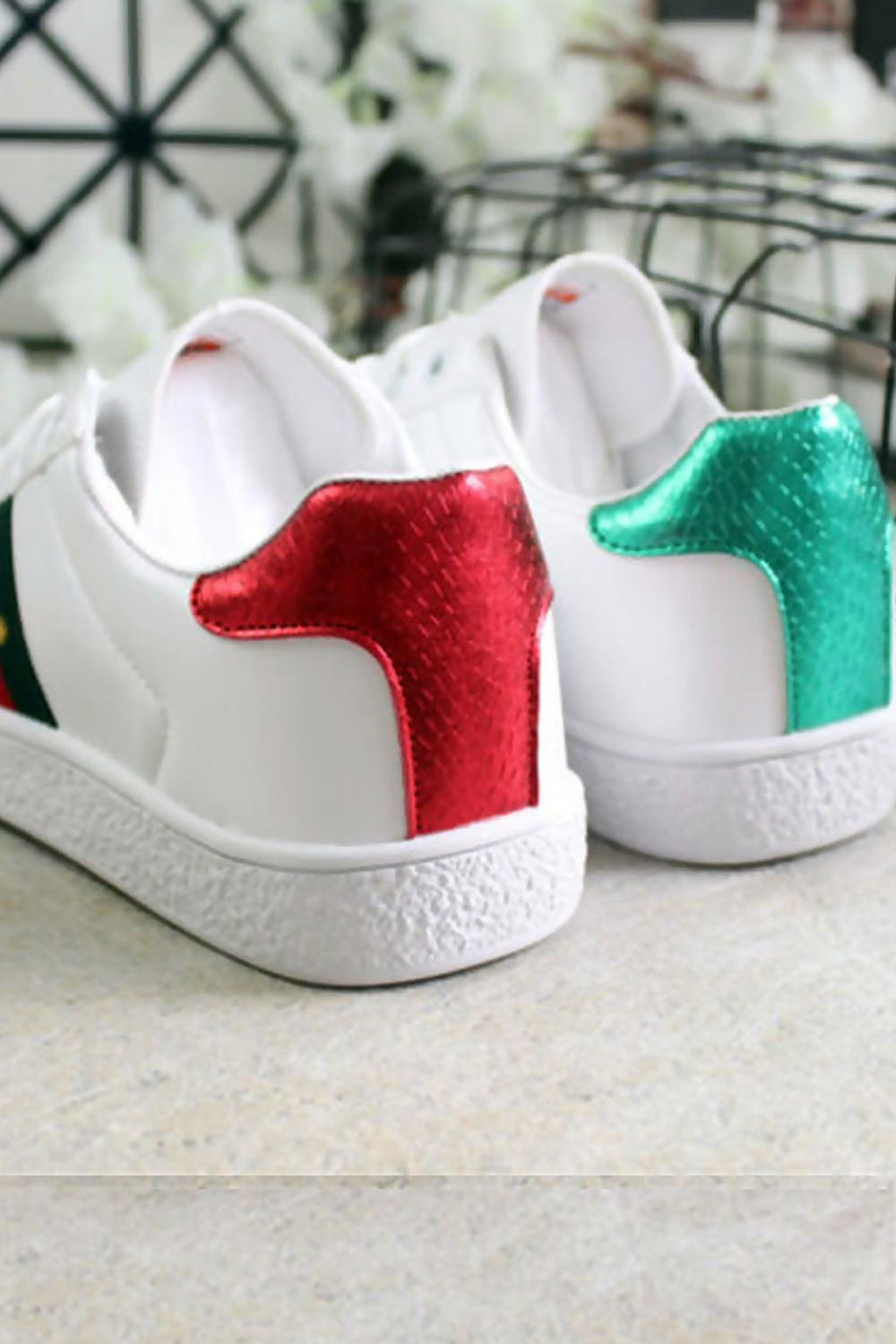 red and green back trainers