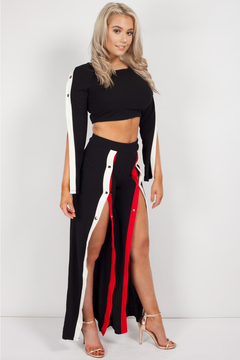 side striped co ord set