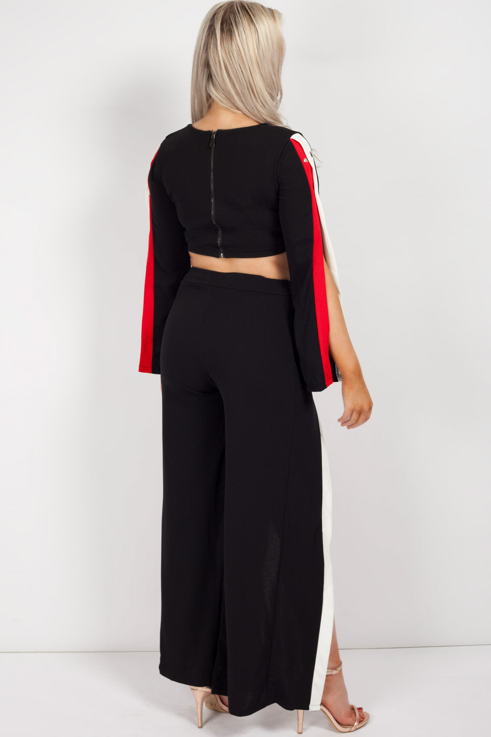 crop top and trouser set black