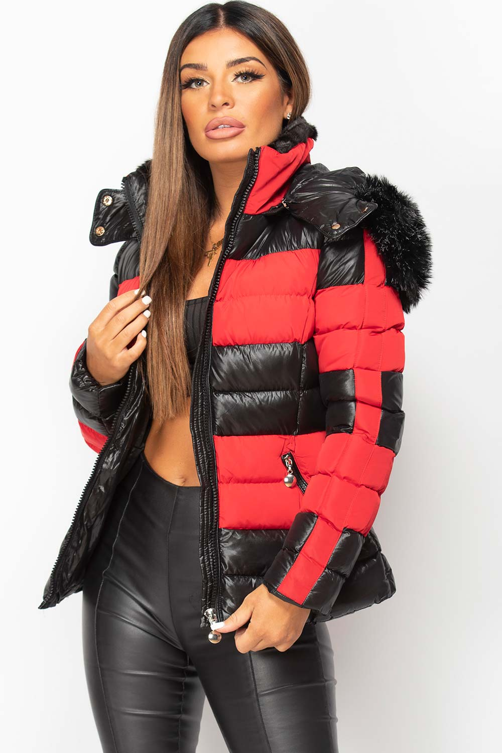 fur hood shiny puffer coat with belt