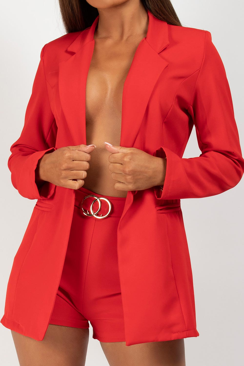 high waisted shorts and blazer set red