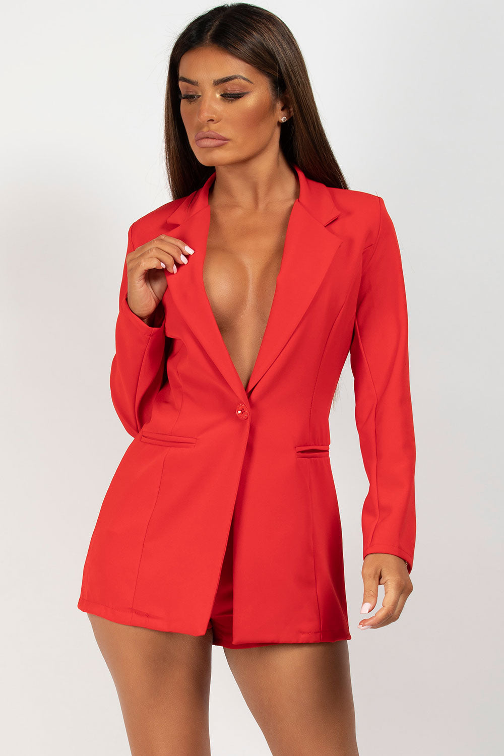red blazer and shorts two piece set