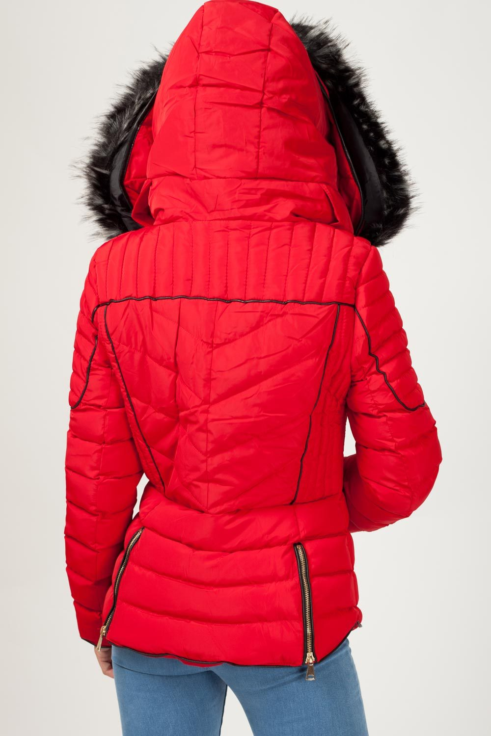 womens red puffer quilted coat uk