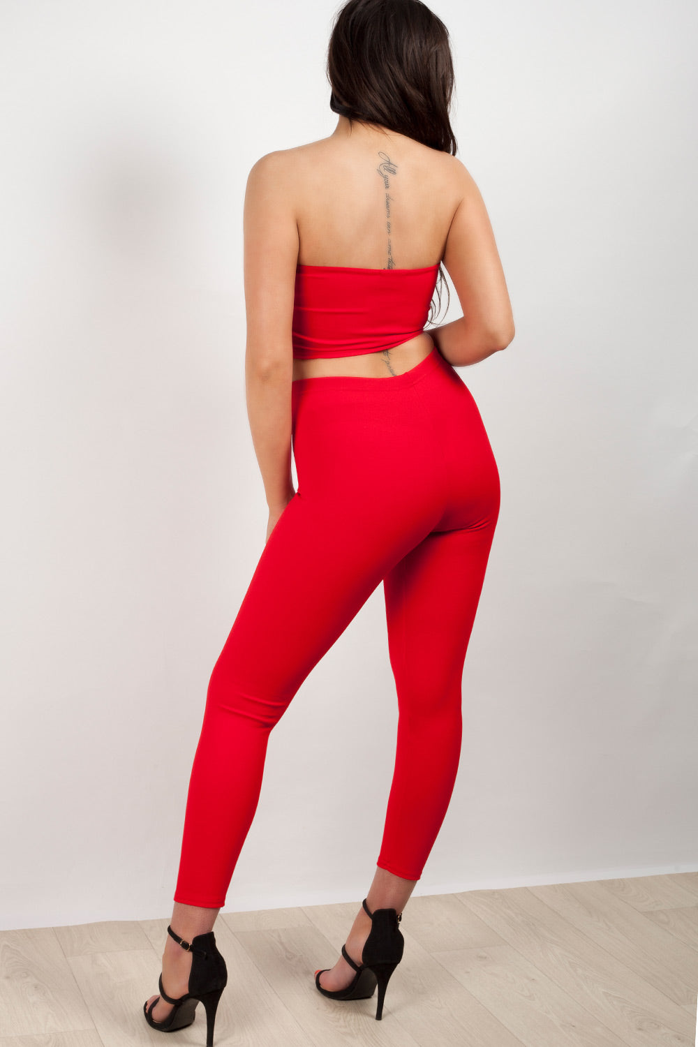red crop top trouser two piece set