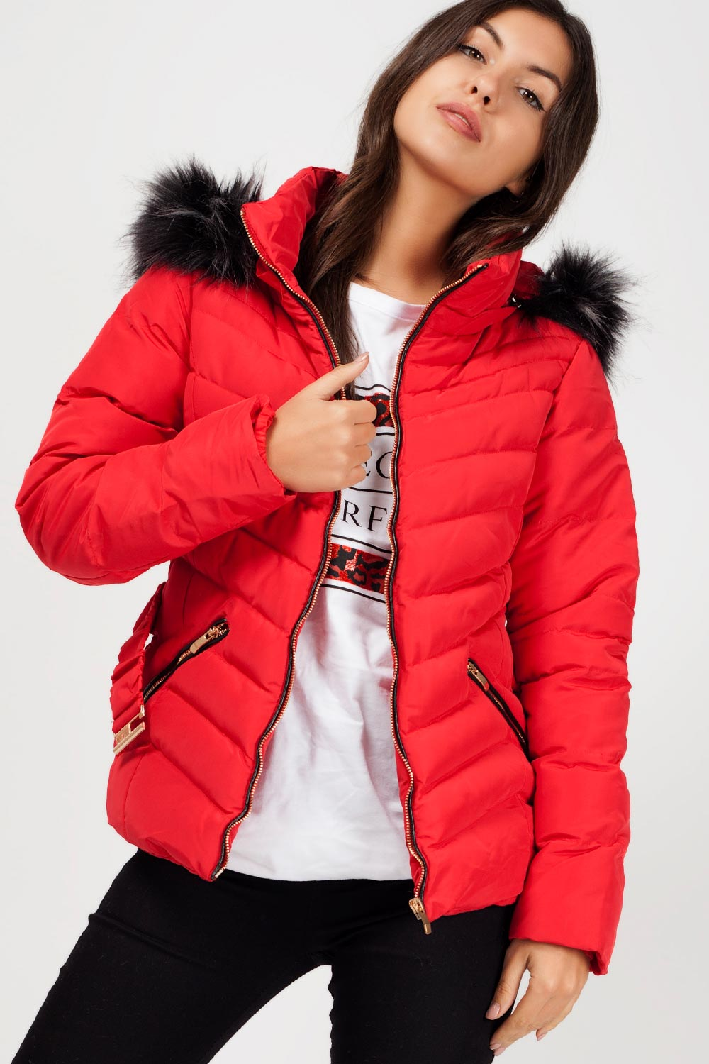 womens zara coat red