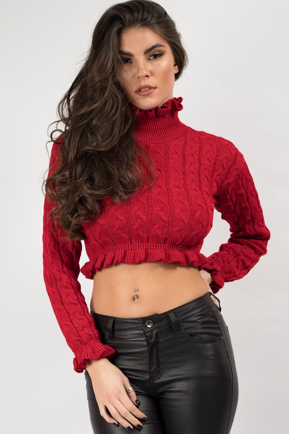 red high neck crop jumper with frill hem