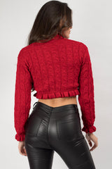 long sleeve crop jumper red