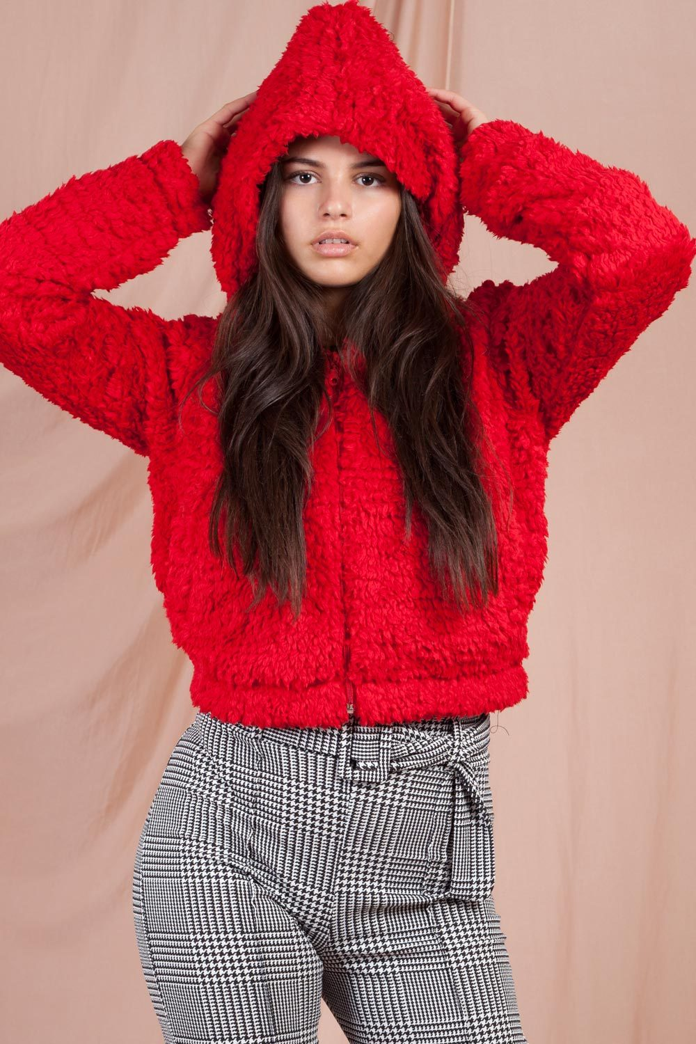 teddy bear hoodie cropped red