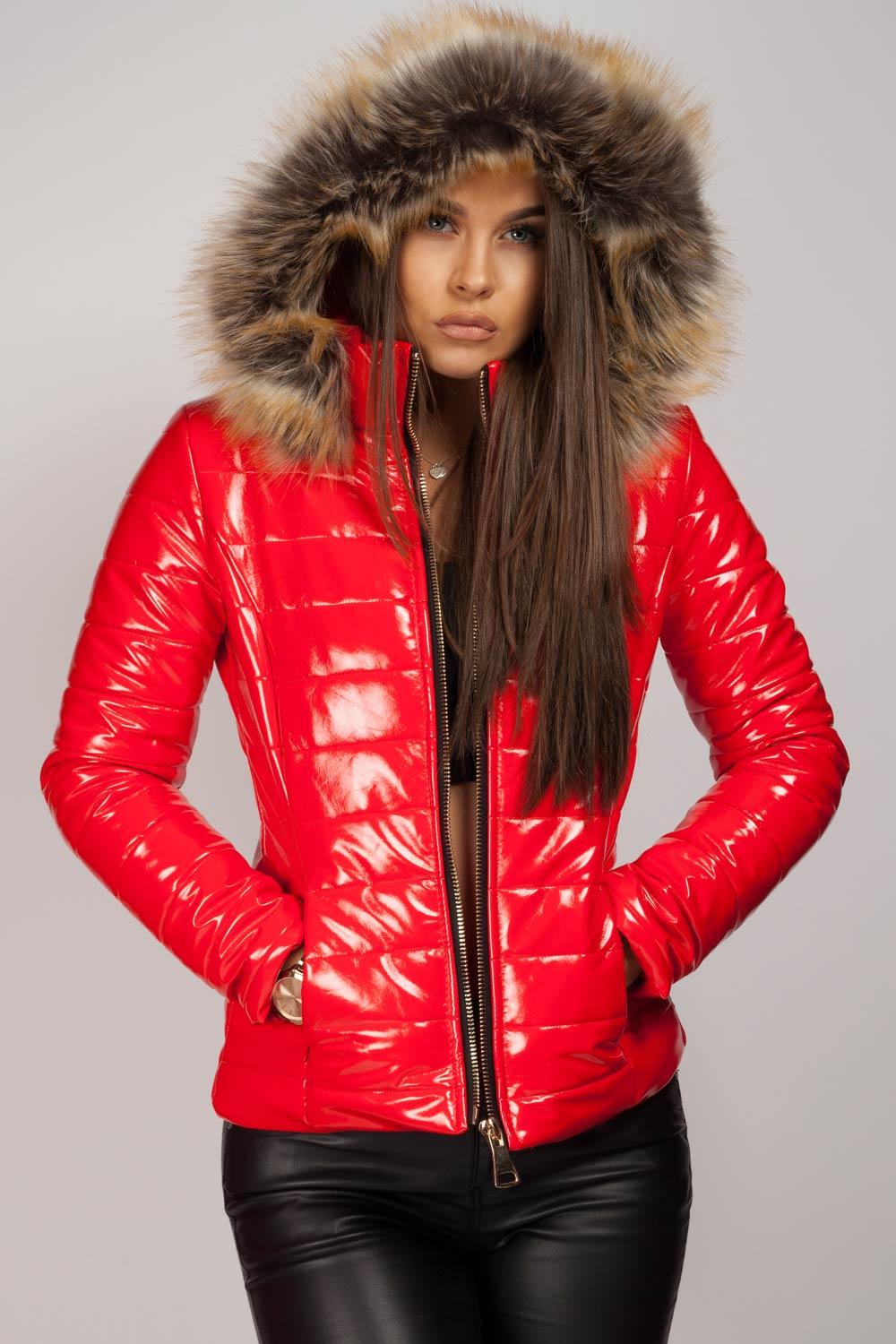 red puffer jacket with fur hood