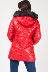 red puffer faux fur hood coat uk