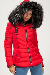 red puffer coat with fur hood womens