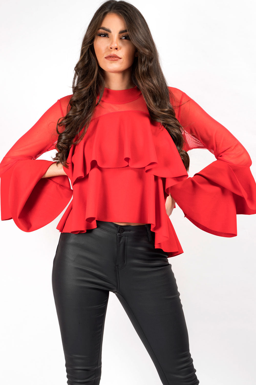 red frill party top
