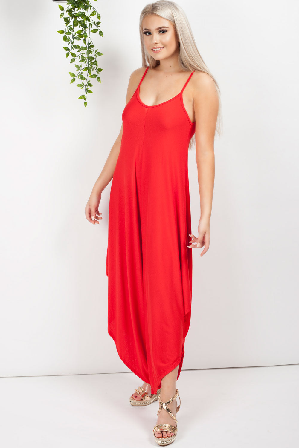 harem jumpsuit red