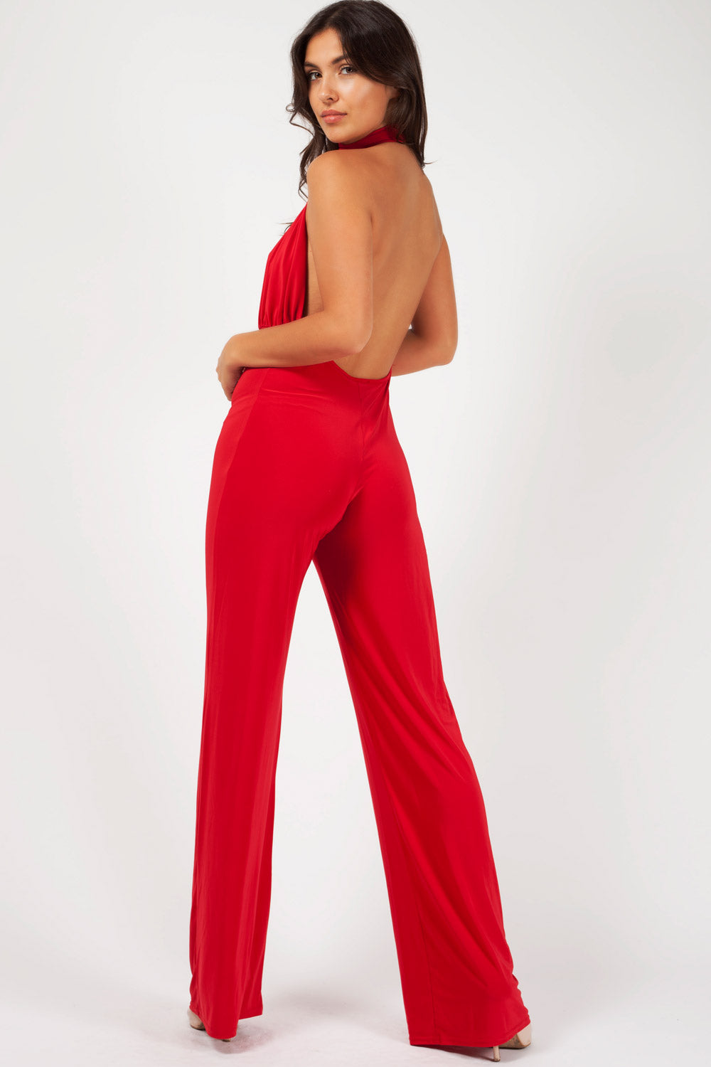 backless jumpsuit red