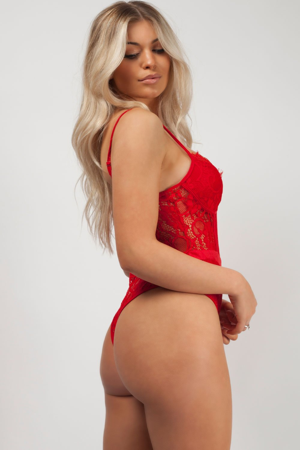 red high leg lace bodysuit