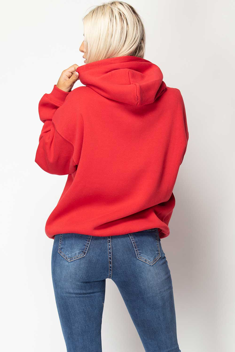 womens oversized red hoodie