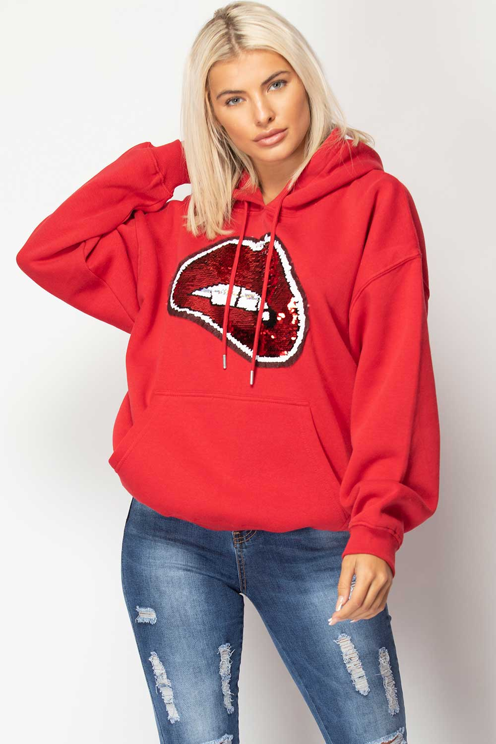 red oversized hoodie womens