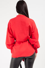 oversized sweat shirt red womens