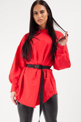 red utility belted sweatshirt womens