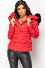 womens red puffer coat uk