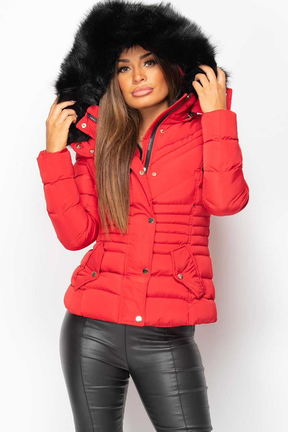 womens red puffer coat with fur hood