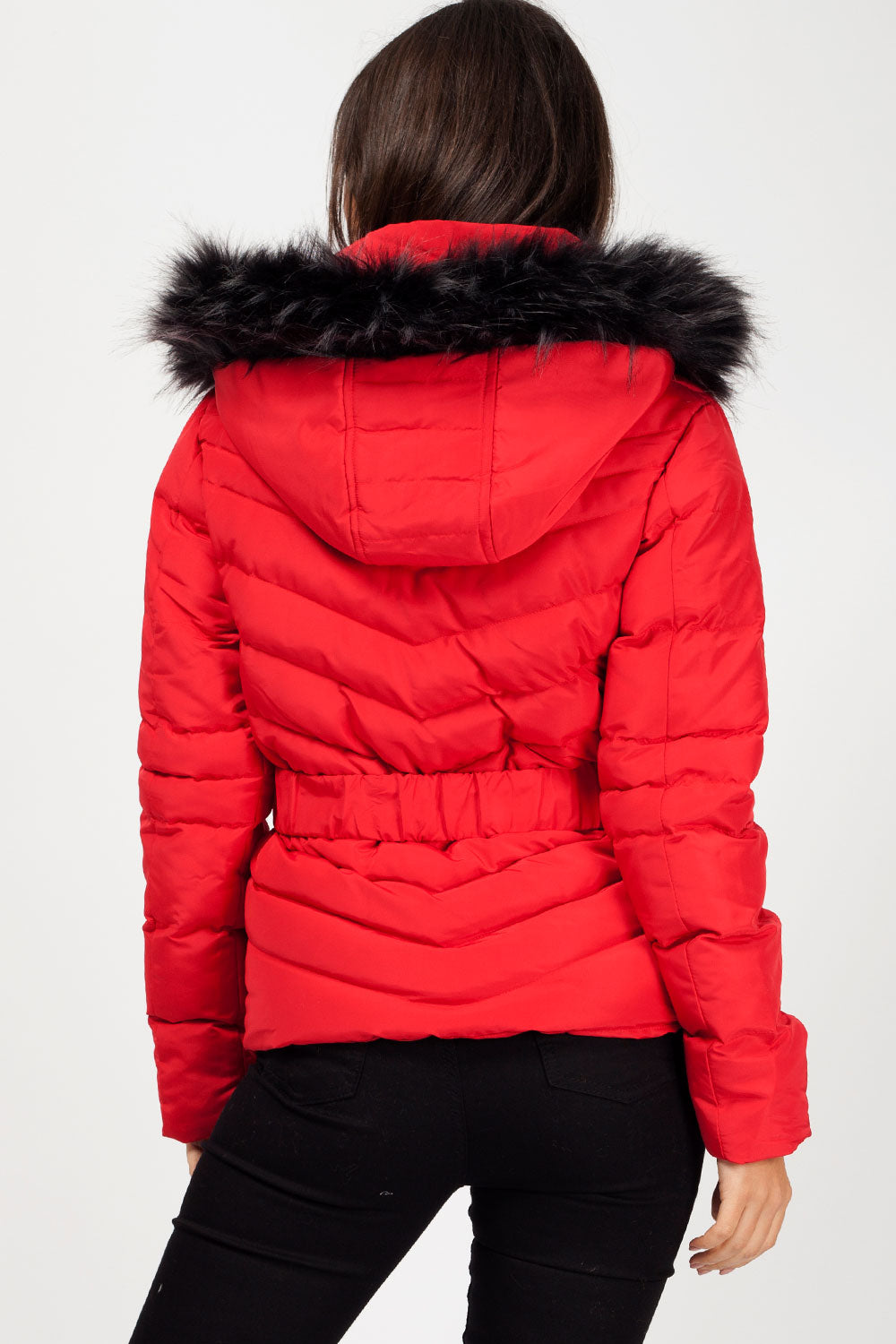 red puffer coat womens